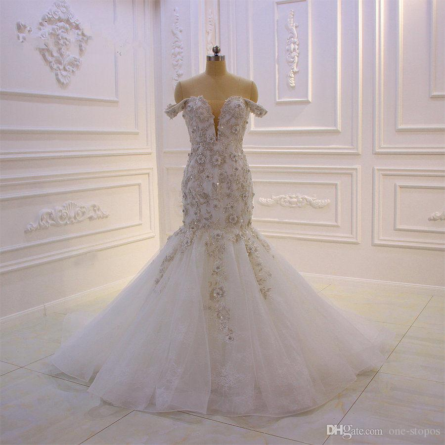 2019 Vintage 3D Lace Flowers Mermaid Wedding Dresses Luxury Off Shoulder Sequined Beaded Plus Size Bridal Gown Real Pictures