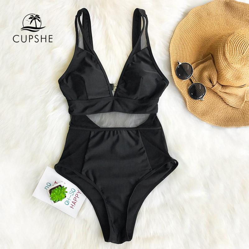 2019 Sexy Black Mesh One-piece Swimsuit Women Solid V-neck Hollow Out Monokini 2019 Girl Slim Bathing Suit Swimwear