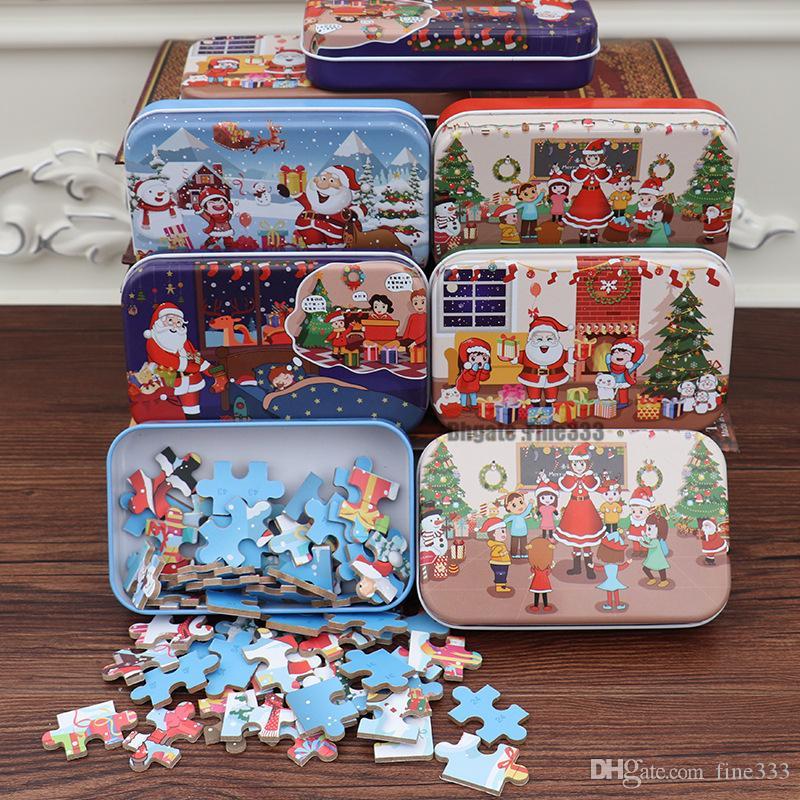 عيد الميلاد الألغاز ألعاب 60PCS خشبية الاطفال التعليمية لعبة بانوراما الطفل تربية تعلم لعب للأطفال هدية