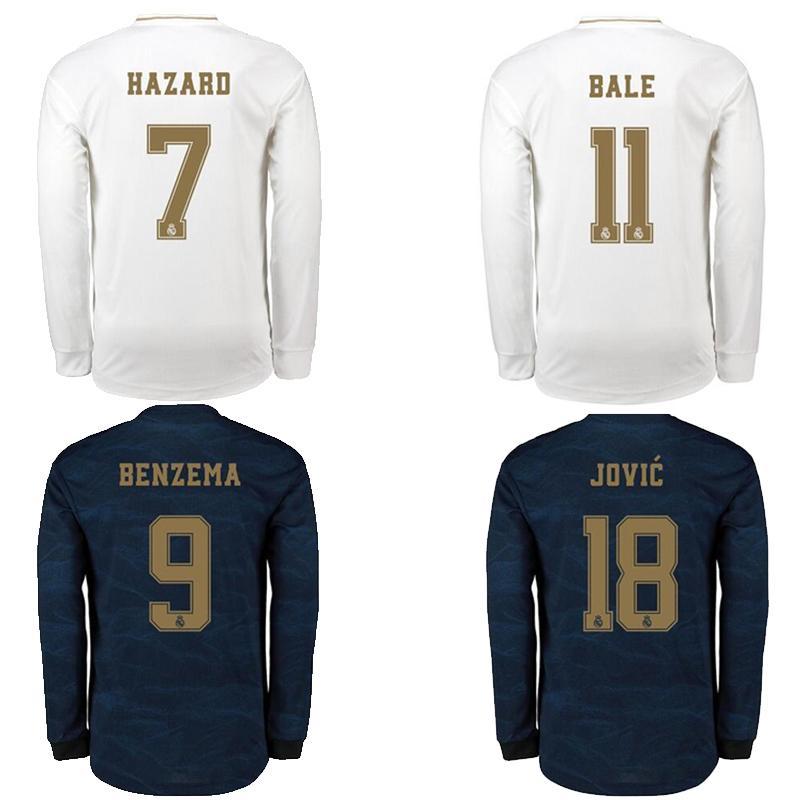 2019 2020 레알 마드리드 홈 흰색과 멀리 파란색 긴 소매 축구 유니폼 (19) (20) 위험 벤제마 Jovic 비니 주니어 축구 셔츠 camisa