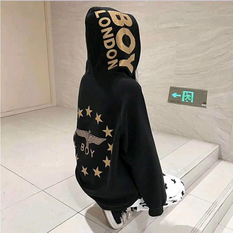 Boy London coat loose Eagle gold stamping five star round neck long sleeve cotton Hoodie for men and women