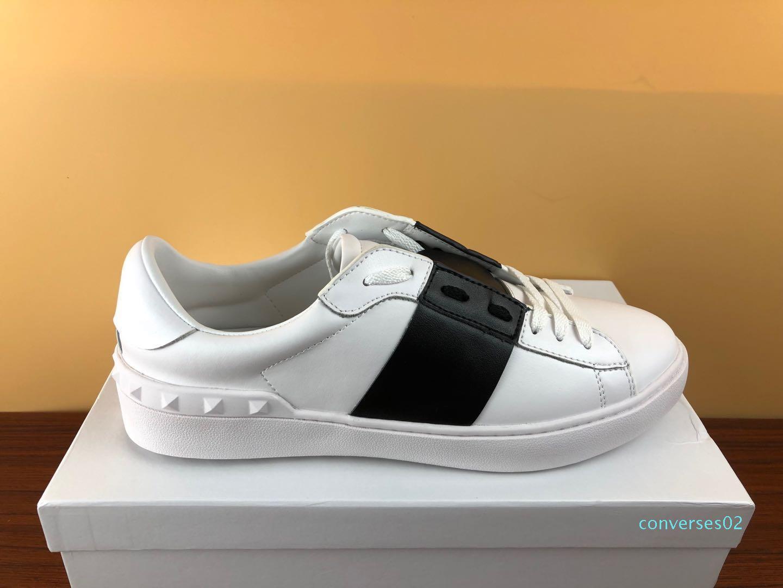 Stilista scarpe bianche Lace Up del cuoio genuino pattini casuali degli uomini donne scarpe da tennis piane con scarpe da ginnastica di dialogo stilista in vendita CO02