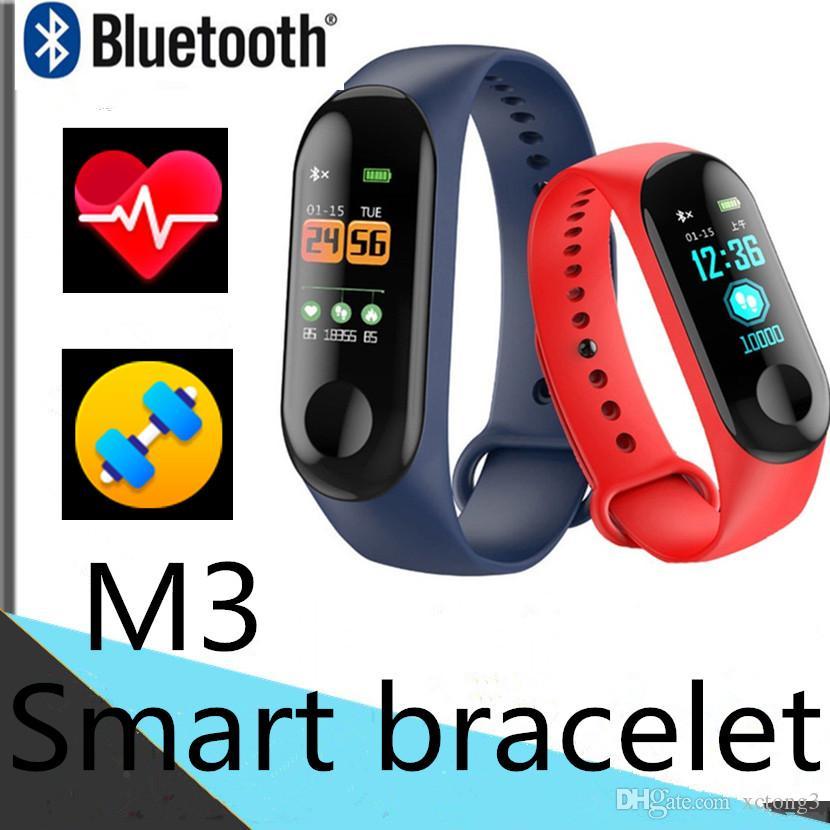 M3 Smart-Armband smartband BT Fitness Tracker Smart Watch Herzfrequenz-Pedometer-Push-Nachricht Armband Design Passometer