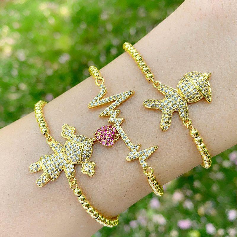 Zirconia CZ Adorável menina e menino Crianças Figura Charms pulseira de moda jóias Beads Box cadeia pulseira Unisex Jóias Amante