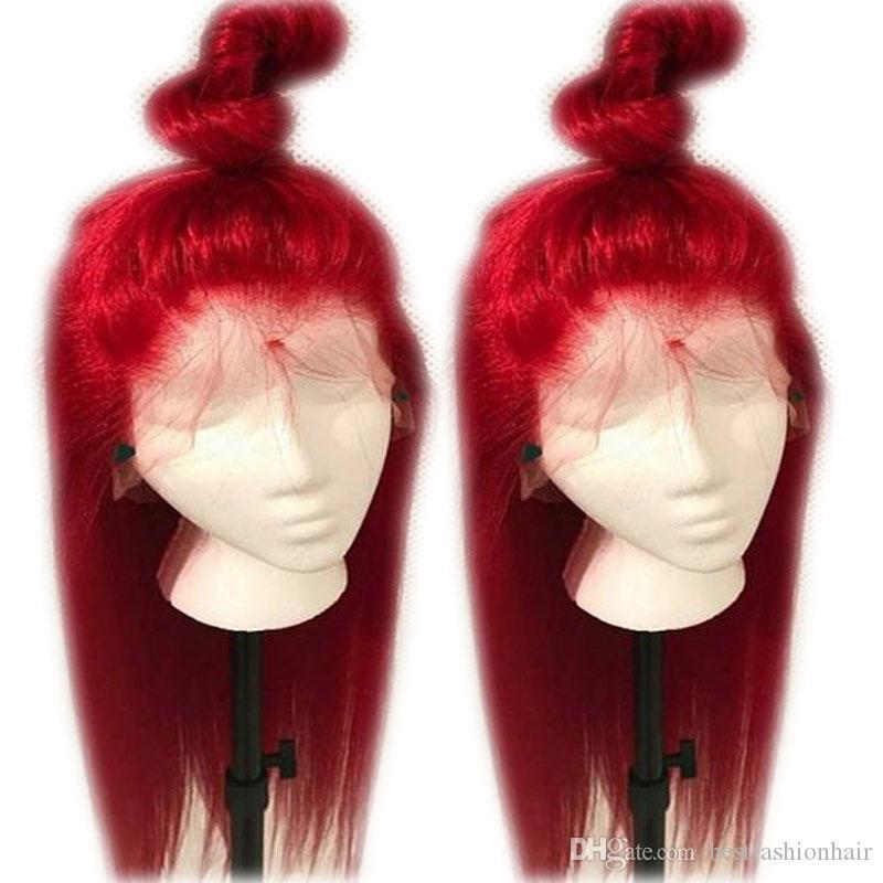 Rojo sintético peluca de cordón con el pelo del bebé Gluelesss sedoso barato roja del frente del cordón pelucas de fibra resistente al calor Negro Para Mujeres