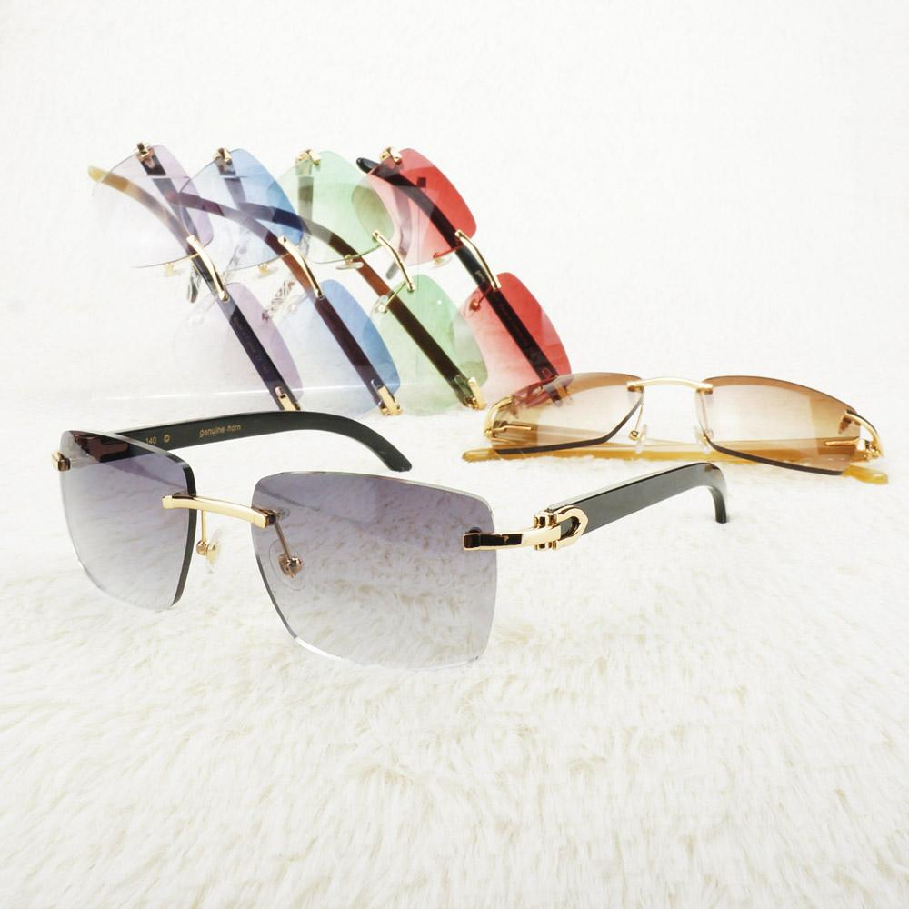 Vintage Rimless Sunglasses Men Luxury Carter Glasses Big Square Sun Glasses Frame for Driving and Fishing Retro Style Shades