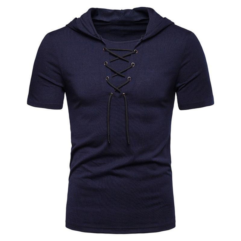 Los hombres de la manera camisetas de deporte Top Tees Ropa para hombre con el sombrero 2020 de la manga de la Cruz Casual O Cuello de secado rápido delgado de la camisa