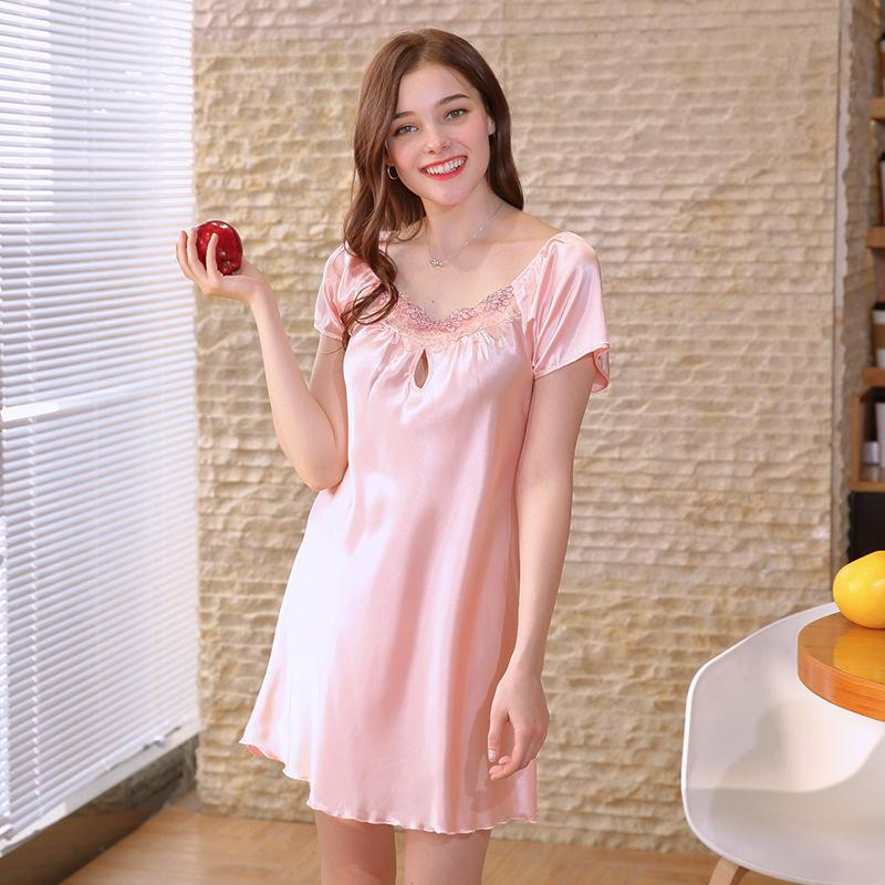 Summer Women Nightgowns Lace Short Sleeve Sleepshirts 14color Silk-Like Sexy Sleepwear Stain Nightdress Lingerie Plus SizeM-4XL Tguid