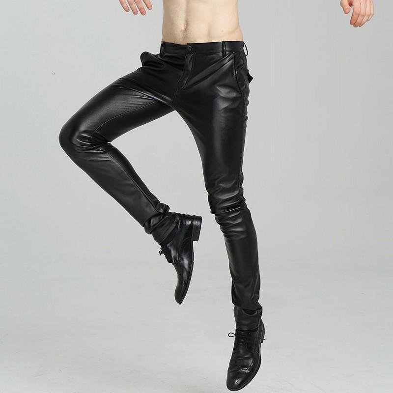 2020 Nouvelle Arrivée Casual Mode Menswear solide en cuir PU homme moto Pantalon coréenne Slim Fit Pantalon Skinny Taille Plus