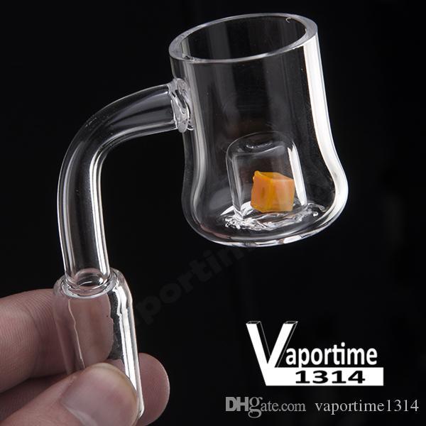 유리 물 파이프 (717)를 노란색 레드 Domeless 석영 루비 손톱 25mm CAD 루비 석영 폭행 열 변색 버킷 코어 에반 쇼어 네일