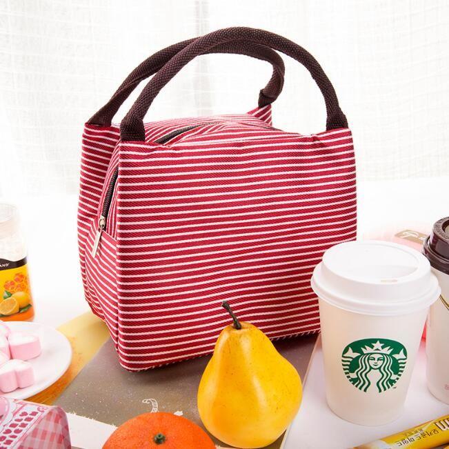 холст тепловой обед сумки печатных полосатый изолированные дети школа еда напиток сумка для хранения портативный пикник контейнер тотализатор коробка обеда сумки
