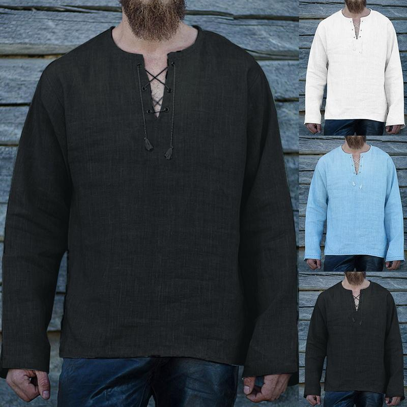 Erkekler Bahar Gömlek Modelleri Yaz Erkek Casual V yaka Keten En Gömlek Saf Renk Geniş Gevşek Moda Erkek damla