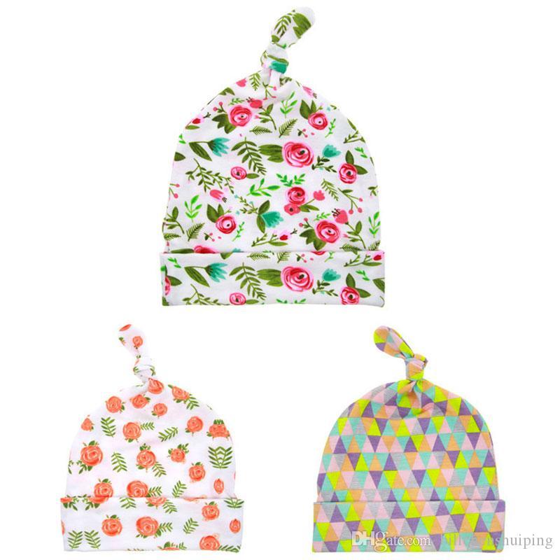 New Baby nodo del cappello superiore Newborn fiore della Rosa di stampa Beanie Fotografia puntelli Bambini Caps gli accessori dei capelli