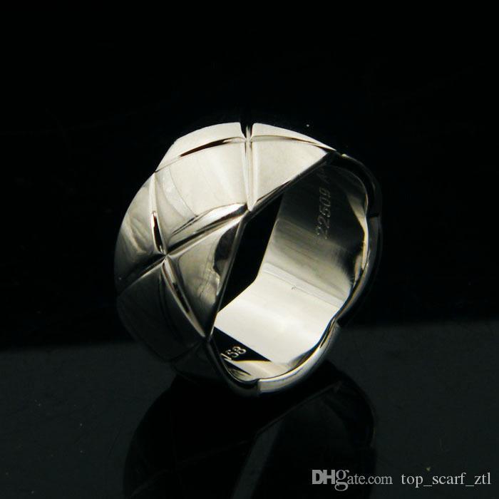 Женщина Coco Кольца Серебро 18k Золотой Широкий Thin кольцо Свадьба Man Party Ring
