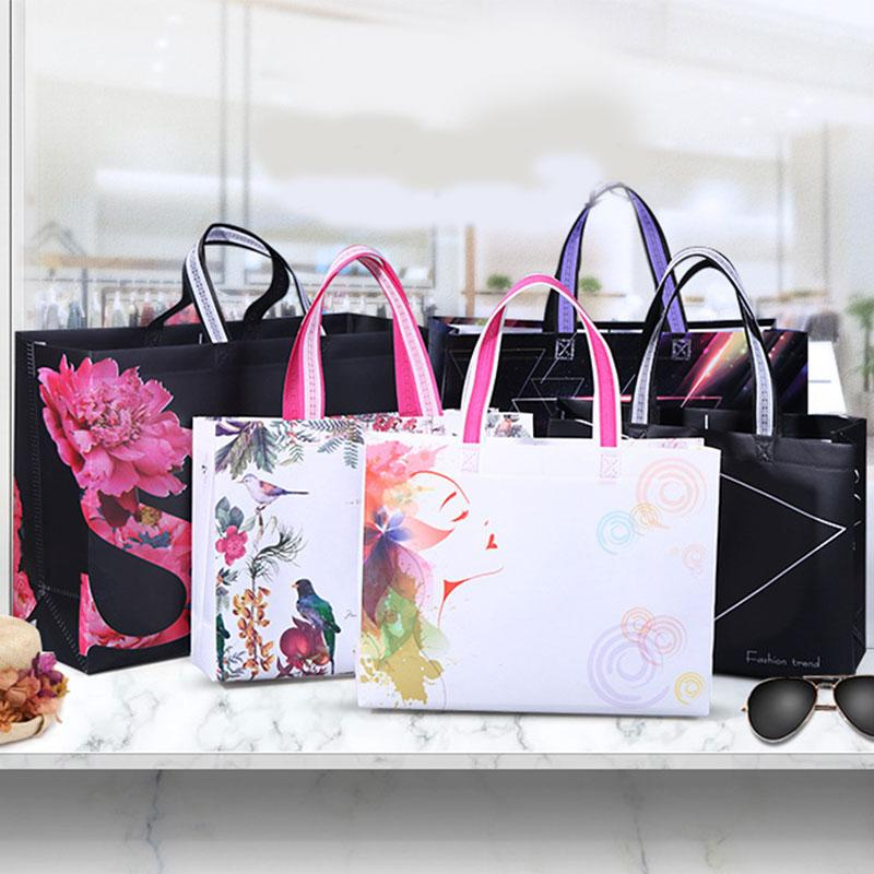 Bolso Square Shopping Bag Eco-friendly dobrável reutilizável portátil a tiracolo não-tecido Tecido de viagem Sacos de mantimento