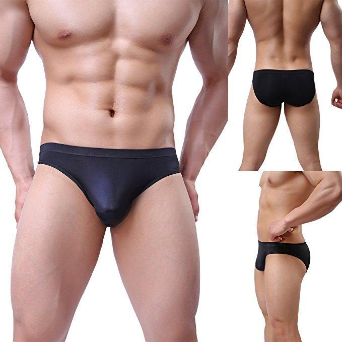 Men's Sexy Ice Silk Bikini Underwear Seamless Breathable Briefs Men Briefs