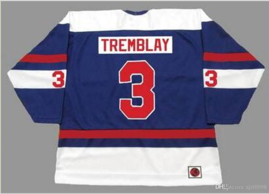 Пользовательские Мужчины Молодежные женщины в стиле ретро # 3 J.C. Трамбле Квебек Нордикс 1973 ВАЗ Hockey Джерси размер S-5XL или пользовательские любое имя или номер