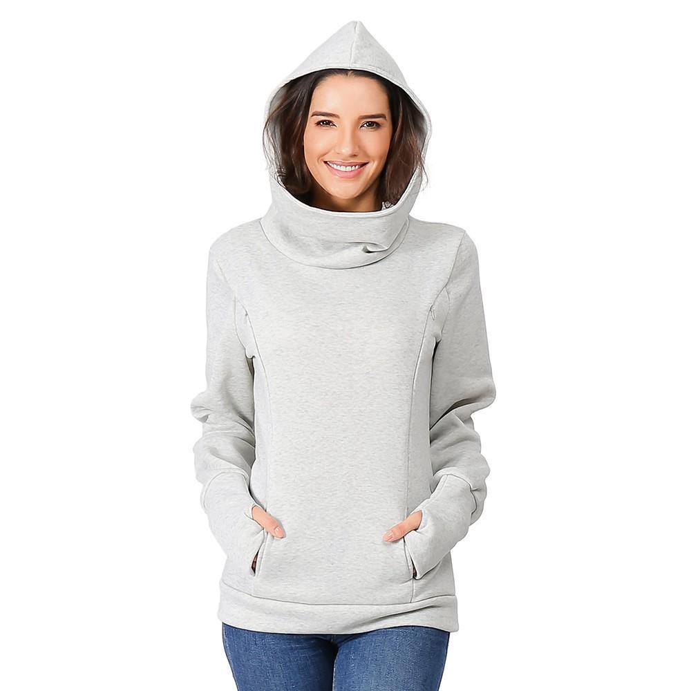 Hamile Bluz Kadınlar Gevşek Artı boyutu Annelik Tişörtü Hamile Emzirme Uzun Kol Kapşonlu Elbise Y910 için Tops