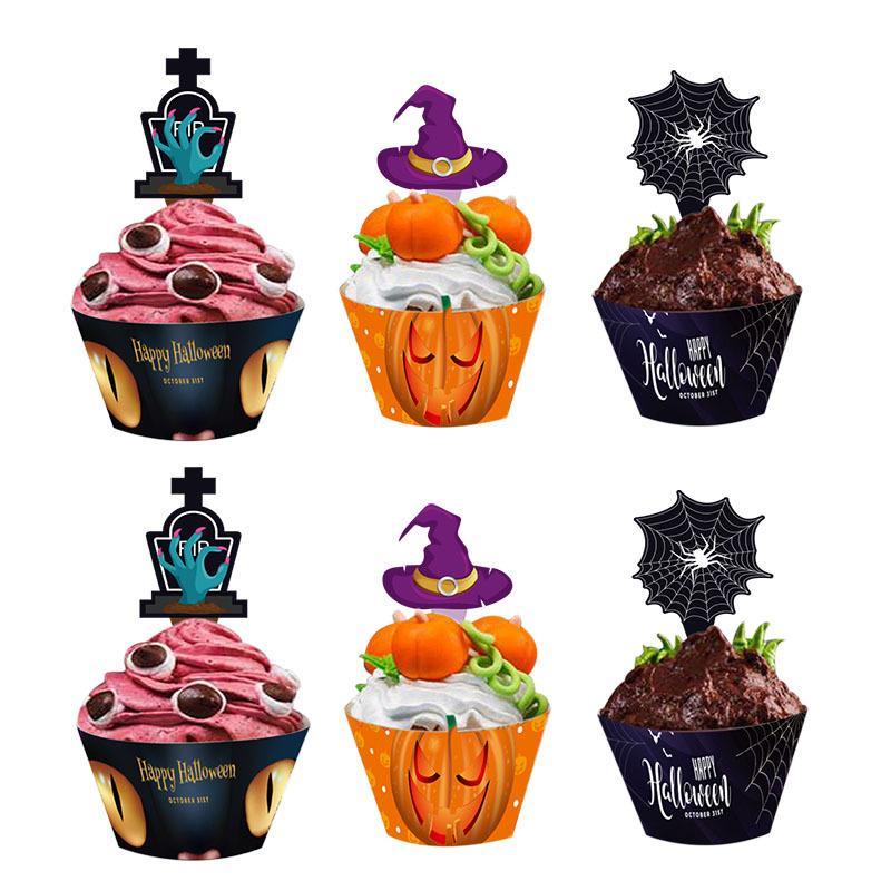 Um conjunto de suprimentos 24 Cartão do bolo de Borda Halloween Party Pieces Sobremesa Frutas Decoração plug festiva / partido