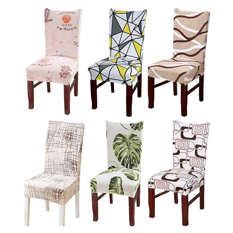 Çıkarılabilir Bitkiler Geometrik Spandex Sandalye Kapak Tropikal Yaprak Elastik Mutfak Ofis Koltuğu Koruyucu Stretch Slipcover 1pc Kapaklar