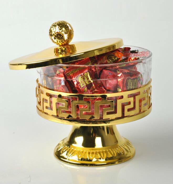 Copos Louça definir potes de doces de prata banhado a ouro de Metal Acrílico Sal Açúcar Tea Coffee Jar