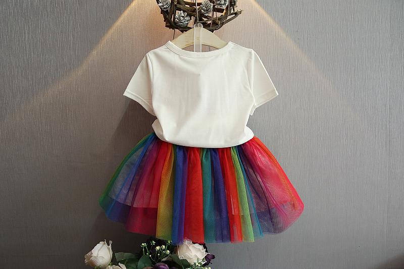 Girl Short Sleeve T T-shirt Rainbow Half Body Skirt Short Skirt Two Piece Set Suit 0201