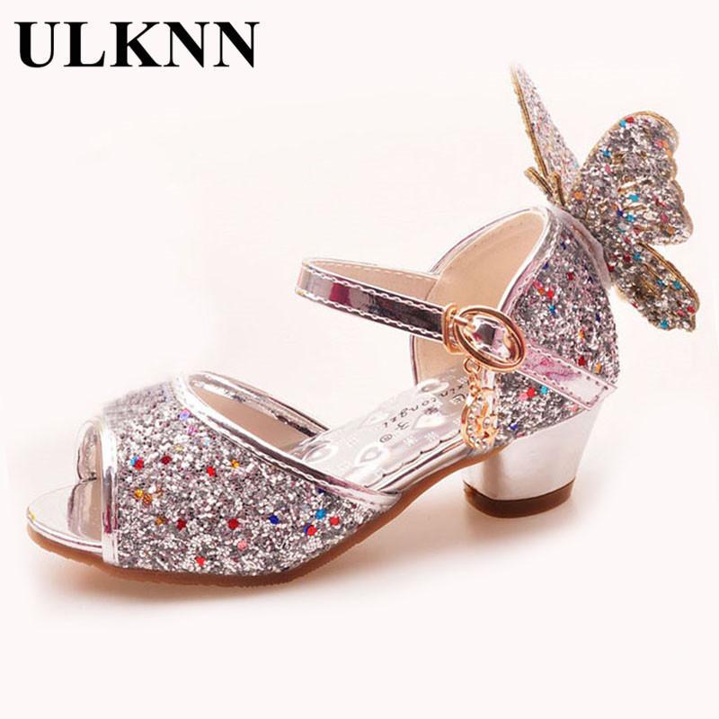 Ulknn Girls Sandals Rhinestone Butterfly Pink Latin Dance Shoes 5-13 Years Old 6 Children 7 Summer High Heel Princess Shoes Kids Y19051303
