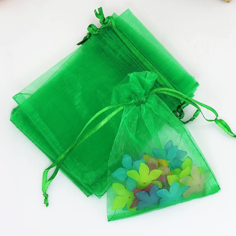Grama Verde Cordão Saco De Embalagem De Organza 100 pcs 9x12 cm Presentes Beads Jóias Doces Bolsas de Armazenamento para o Casamento Festa de Natal
