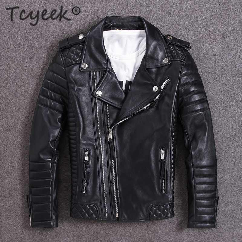 Tcyeek% 100 Gerçek Deri Ceket Erkekler 2020 Kış Streetwear Artı boyutu Hakiki Sheepskin Coat Erkekler Ceketler 19815