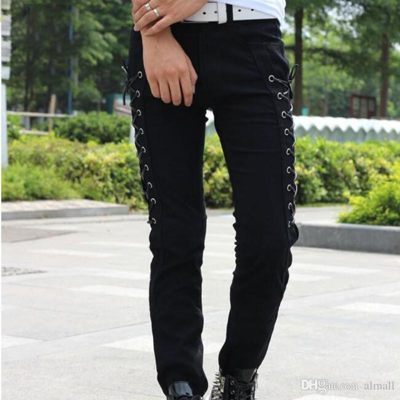 Style coréen de la mode d'été Slim Fit Hommes Pantalons Toute la longueur Pantalon Homme Personnalité Skinny Lace Up Pants Pour Hommes