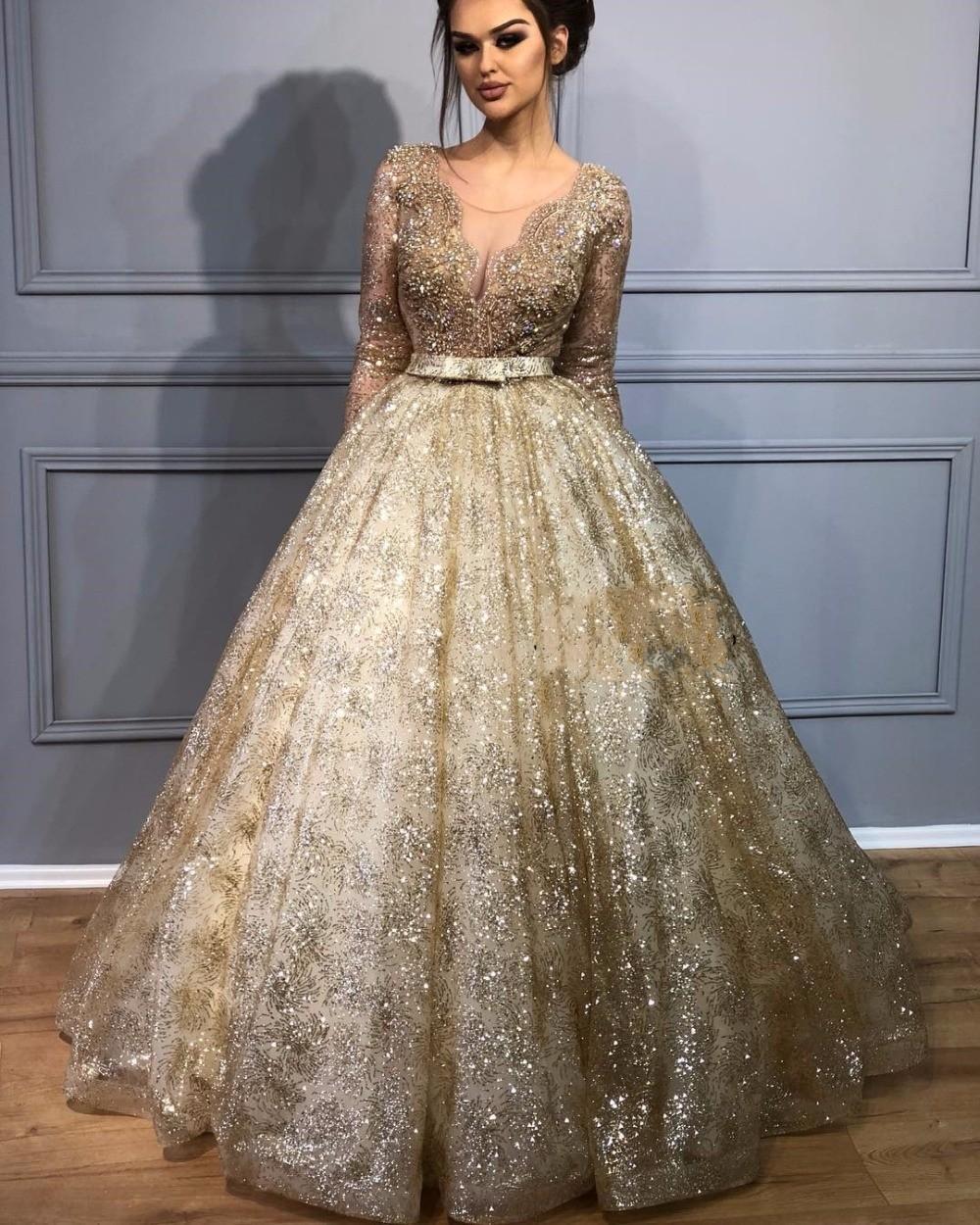 Glaring Sheer Ballkleider 2019 Prom Kleider Illusion Gold Perlen Spitze Schwere Perlen Abendkleider Lange Vestidos de Festa Graduate Kleid
