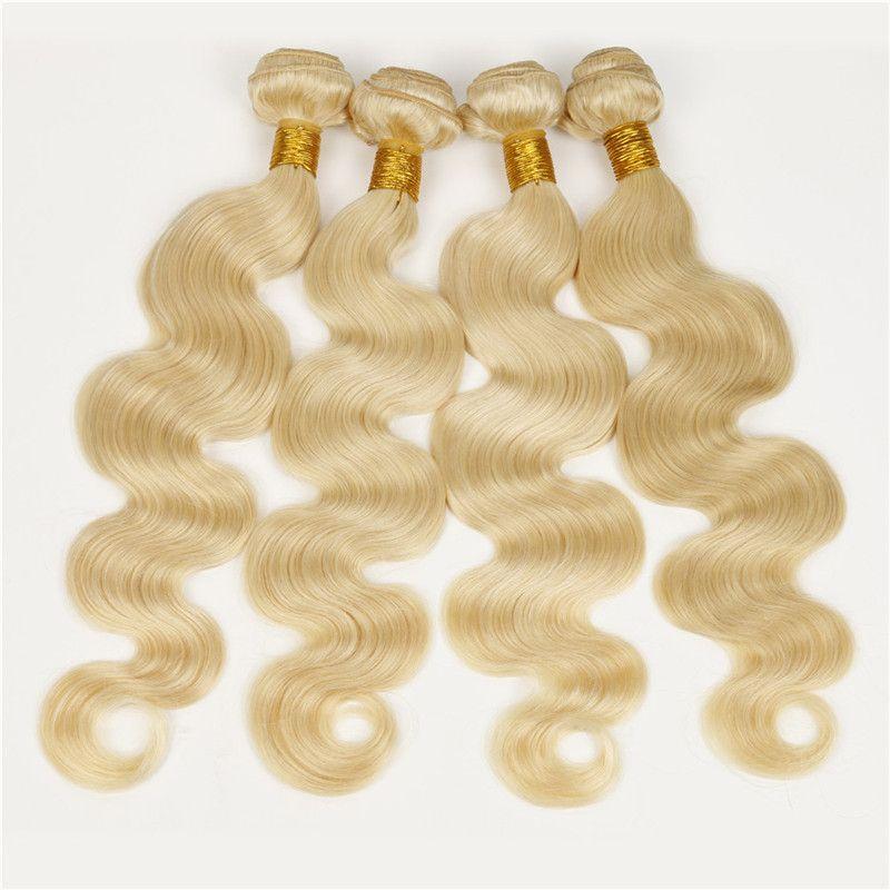 Guangzhou Irina Hair Products 7A Günstige Bleach Blonde 613 Brasilianische Menschenhaarverlängerung 4 Bundles Lot Körperwelle Wellenförmig