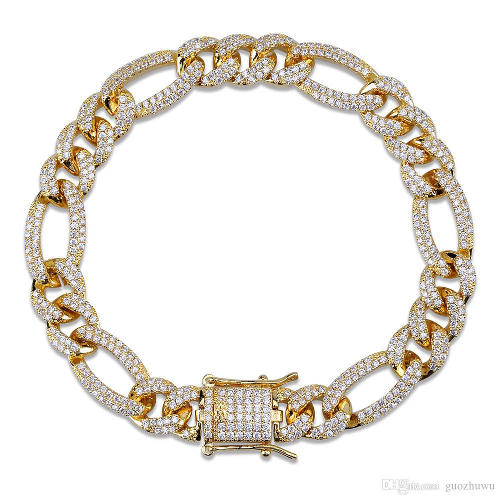 18K Gold Plated Zircon Mens Hip Hop Figaro Chain Bracelet 10mm 7/8inch Miami Rock Rapper Jewelry Copper Wristband Link Chains for Boys Gifts