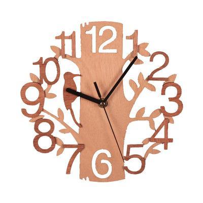 나무 조류 벽시계 더블 스테레오 패션 원형 나무 곡물 벽 시계 거실 침실 경계선없는 홈 장식 XD22955