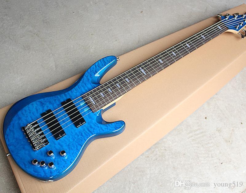 مخصص سلاسل الجملة الزرقاء 6 سلسلة الغيتار باس الكهربائية ودوائر النشطة، والقشرة القيقب لهب، توفر الأصابع الماهوجني تخصيص