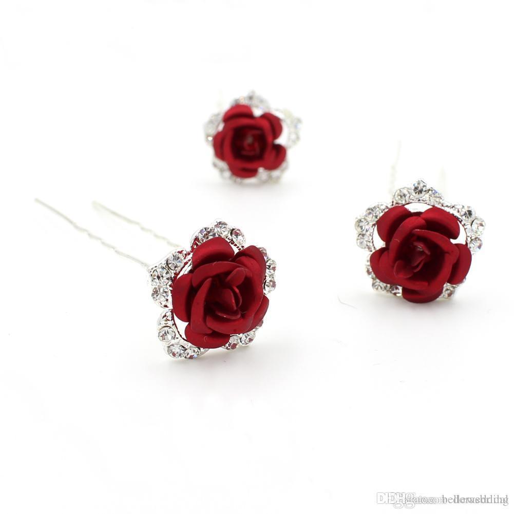 Metal Çiçekler Ile yeni Tasarım Düğün Başlıklar Rhinestones Tokalar Kadınlar Saç Takı Gelin Saç Aksesuarları DB-HP510