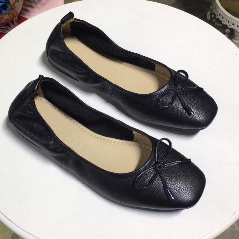 Zapatos planos de las mujeres del cuero genuino de las bailarinas de la mariposa-Nudo Ballet Pisos de maternidad de los holgazanes de las señoras mocasines planos ocasionales