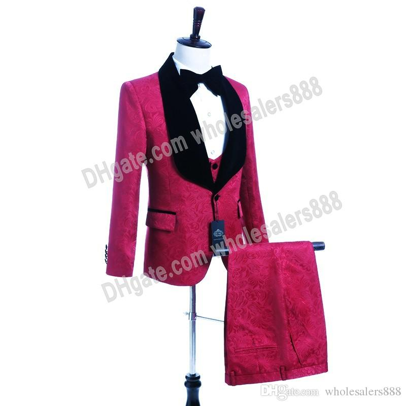 Custom Made Groomsmen Hot Pink Groom Tuxedos Shawl Velvet Lapel Men Suits Wedding Best Man Bridegroom (Jacket + Pants + Vest + Tie) L253