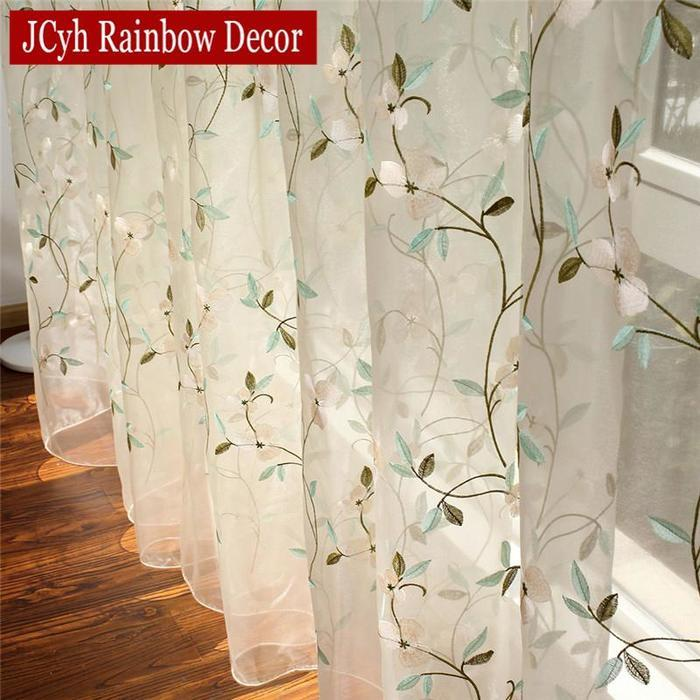 Fl Embroidered Sheer Tulle Curtains, Sheer Patterned Curtains Nz