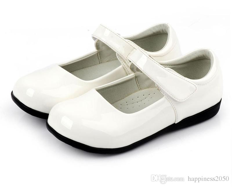 Lovely White Black Flower Zapatos para niñas Zapatos para niños Zapatos de boda para niñas Accesorios para niños TAMAÑO 26-37 S321025