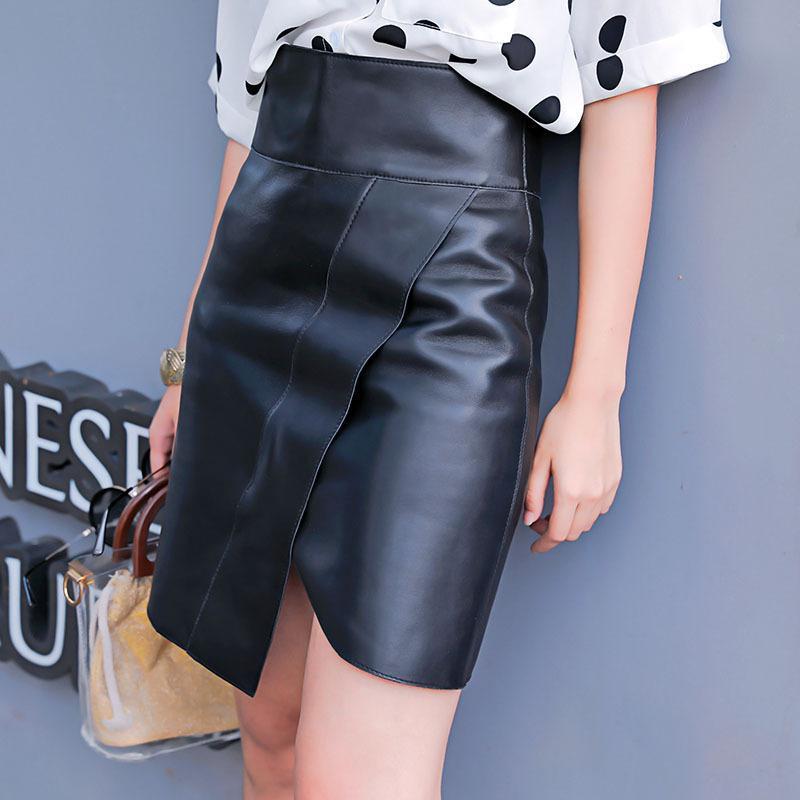 Новое издание действительно пипите юбку высоких талии Женщина с юбкой Пакета показать тонкую ягодицу разделить слово юбки овец кожаную юбку