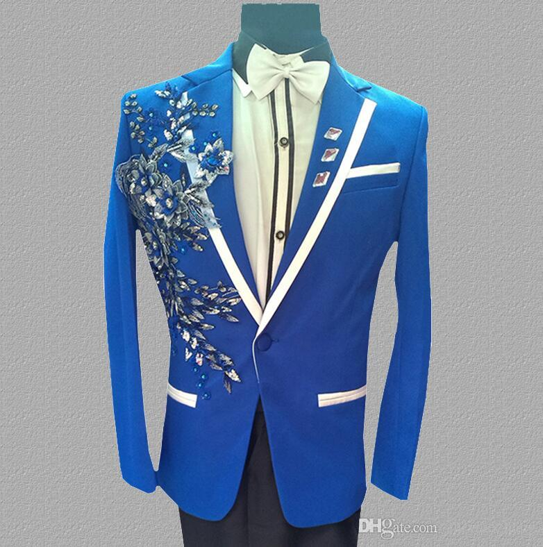 sequins blazer men suits designs jacket mens stage costumes for singers clothes dance star style dress punk rock masculino homme terno blue