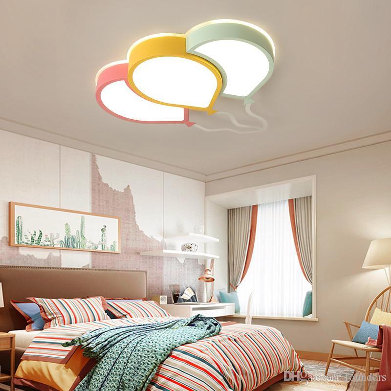 Nouveau lustre de plafond LED moderne pour chambre à coucher Salle d'étude Chambre enfants enfants ROM Maison Déco rose / jaune / vert / plafond lustre