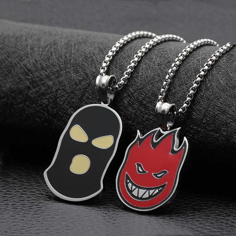 New Hip Hop Spitfire Pendant Necklace Cool Stainless Steel Black Mask Biker Counter Terrorism Face Necklace for Men Rock Jewelry