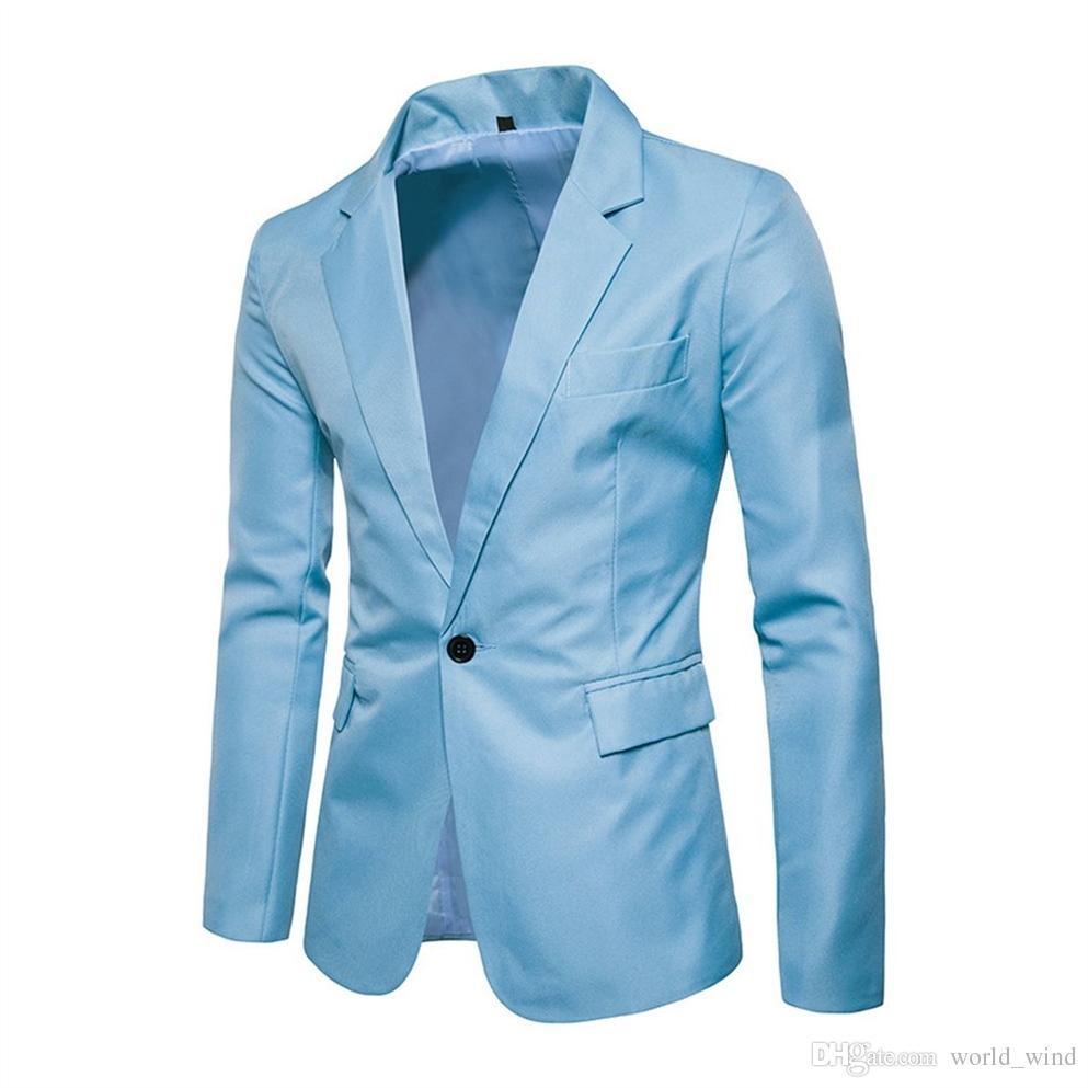 2018 Autumn Men Suit Jackets Slim Tops Wedding Blazer Coats Plaid Elegant American Royal Blue Vest Casual Male Suits Masculino #551102