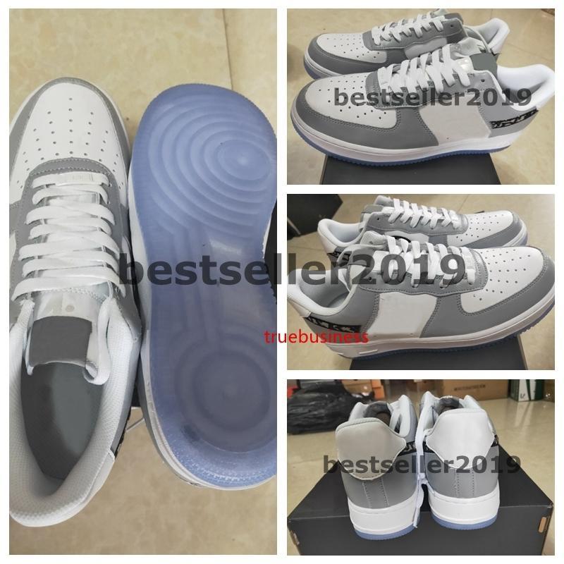 Nuove 1s 07 bassa grigia scarpe da corsa delle donne Mens Sneakers Skateboard Ombra Clot x Seta Rosa impresso sulla parte superiore di uno sport