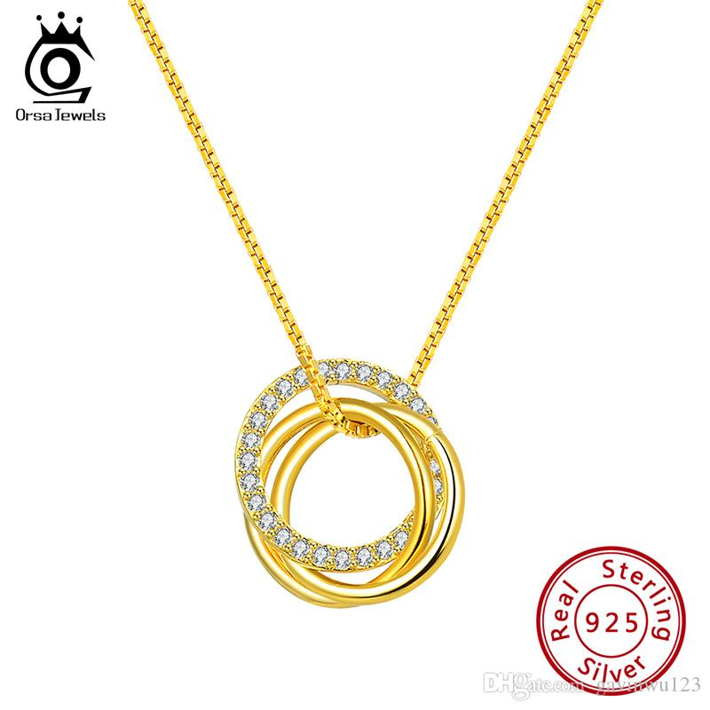 ORSA JEWELS Pure 925 Sterling Silver Pendant Necklace Women Clear Round Cut Zircon Combine Circle Fashion Party Gift Jewelry SN175