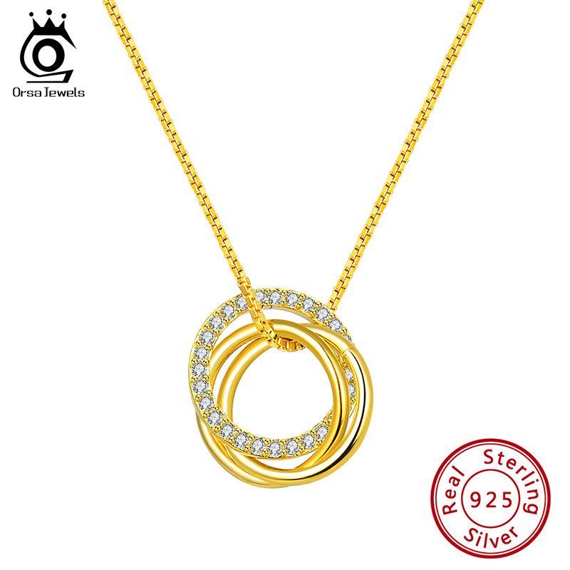 ORSA JÓIAS Pure 925 prata pingente de colar Mulheres Limpar Redonda Cut Zircon Combine presente Fashion Party círculo de jóias SN175