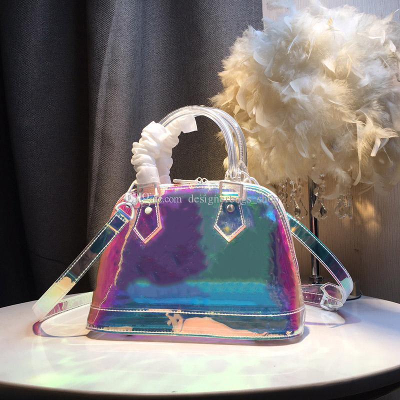 Новые 25см печати цветок ПВХ прозрачная сумка сумки кошельки Dazzle цветной лазерный Shell пакет тотализаторов одного плеча мешок Crossbody