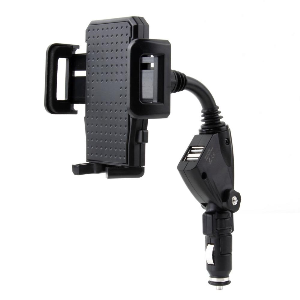 Freeshiping Universal Adjustable 2.1mAh Rotation Dual 2 USB Port Car Lighter Charger Stand Mount Holder Bracket For iPhone 5S 5C For Samsung